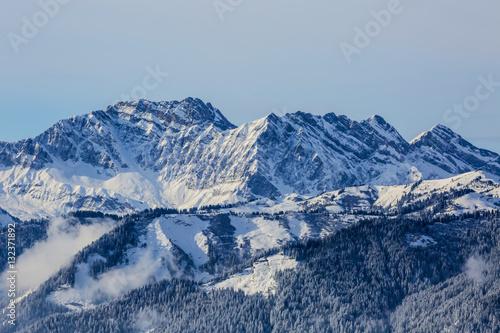 Śnieżne szczyty gór