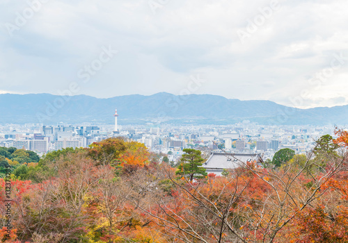 Poster Aerial view of Kyoto City from Kiyomizu-dera in Autumn season.
