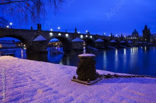 Charles bridge at winter night , Prague, Czech republic, Europe