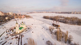 Admiralty Square and the monument to the first ship built in Russia in Voronezh at winter aerial view