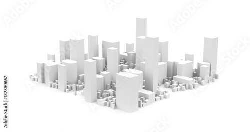 City Landscape, 3D rendering of  Big City