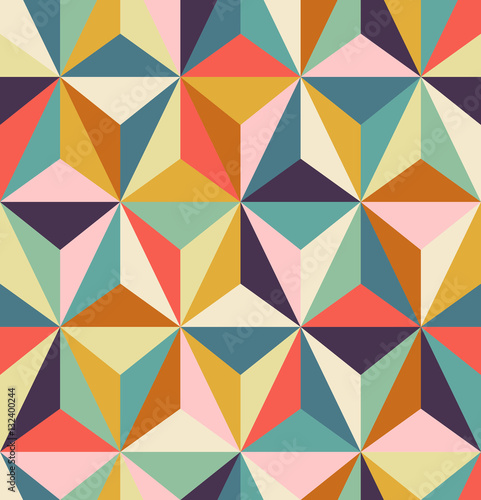seamless geometric retro pattern - 132400244