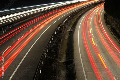 Foto op Canvas Nacht snelweg Speed cars at night