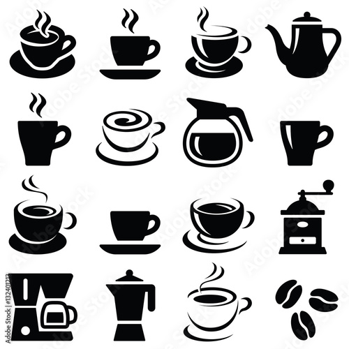 Coffee cup icon collection - vector silhouette and illustration - 132401213