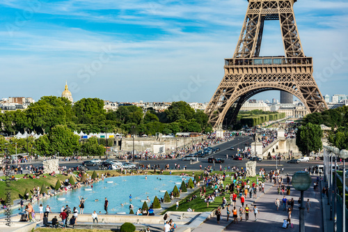 The Trocadero garden with the Eiffel Tower Poster
