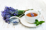 Cup of tea and lavender flowers - 132409897