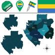 Постер, плакат: Map of Gabon with Named Provinces
