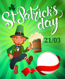 St. Patricks Day. Joyful jumping leprechaun. Vector.
