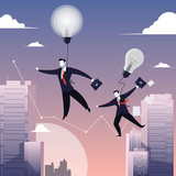 Vector illustration of two businessmen walking on tightrope like funambulist