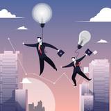 Vector illustration of two businessmen walking on tightrope like funambulist