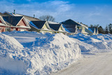 After the snow storm in a North American city neighborhood.