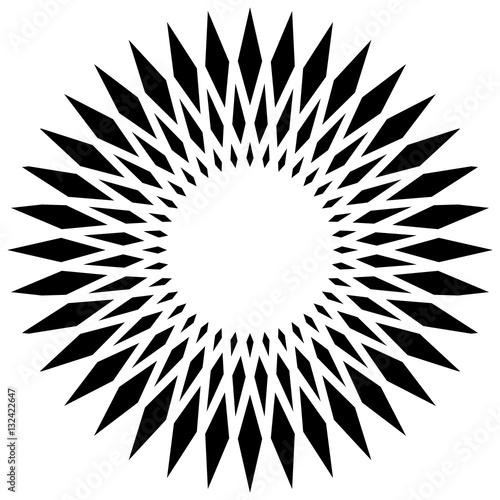 Circular geometric element(s),  rotating radiating shapes on whi - 132422647