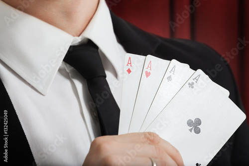 Poster  playing cards luck. focus.