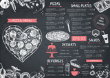 Vintage menu design for cafe or restaurant. Valentines Day template. Vector background with hand drawn food and drinks sketch on chalkboard.