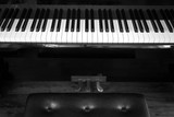 Piano keys with leather chair