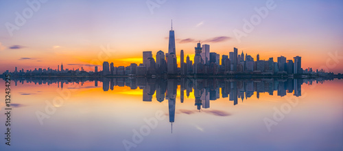 New York City Skyline Reflections panorama  - 132434225