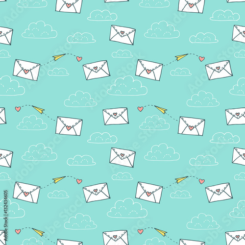 Cotton fabric Valentines day seamless pattern with two love letters, heart and paper airplane. Vector hand drawn illustration in minimalistic style, made with ink outlines