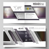 Business templates for square design bi fold brochure, magazine, flyer, booklet, report. Leaflet cover, vector layout. Dark color triangles and colorful circles. Abstract polygonal style background.