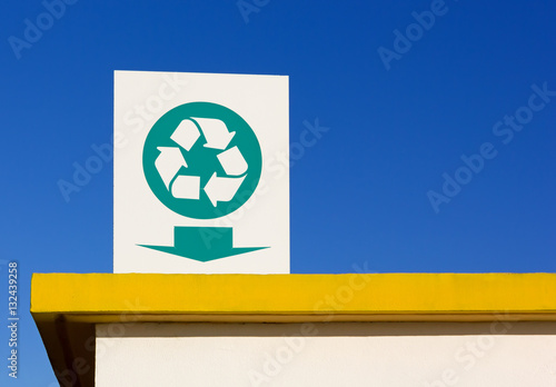 Poster Recycling Symbol Sign over a Roof