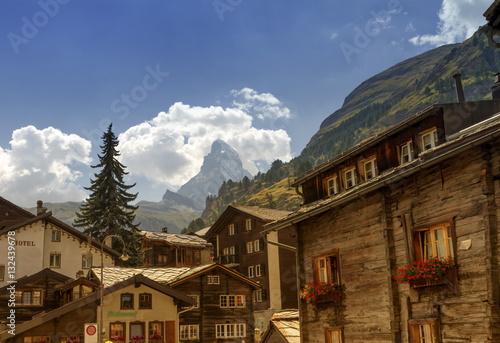 Poster Matterhorn and Zermatt village houses, Switzerland