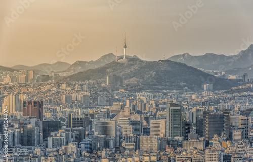 Poster Seoul Skyline,South Korea.