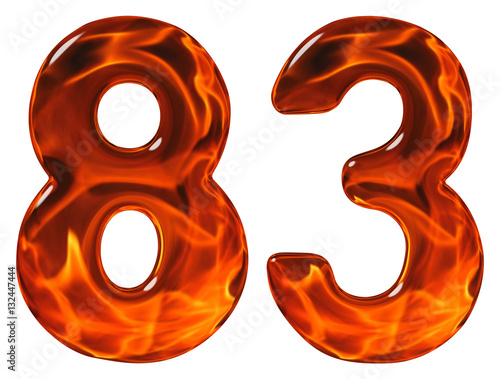 Poster 83, eighty three, numeral, imitation glass and a blazing fire, i