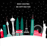 Happy New Year and Merry Christmas Travel Background