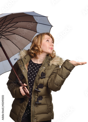 Poster Young woman under the umbrella