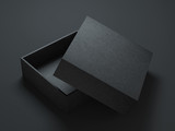 Black Box Mockup with opened cover, 3d rendering - 132451087