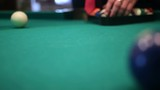 male hands setting up balls pool billiards table