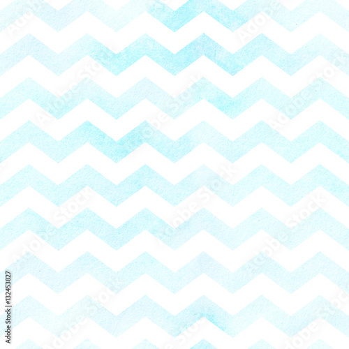 Cotton fabric Seamless watercolor chevron pattern in blue. Seamless pattern.
