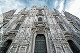 Old photo with facade of the Milan Cathedral, Italy - 132454413