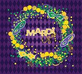 Mardi Gras vector background. Masks and beads garland on purple background.