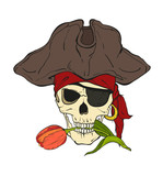 Pirate skull with hat, eye patch and red tulip on white background