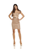 Young pretty woman in a short dress on white background