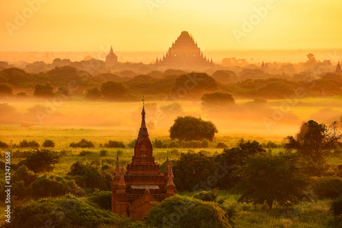 Poster The silhouette Ancient temple on during sunrise ,Bagan Mandalay Myanmar