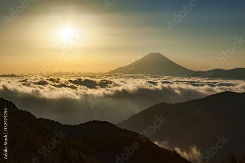 Poster 夜明けの富士山と雲海