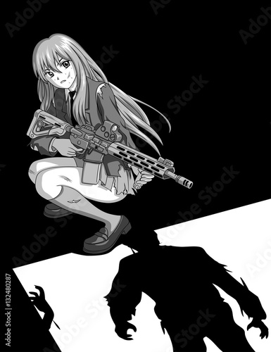 Anime Girl VS Zombies - 132480287