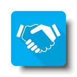 White Handshake Agreement icon on blue web button