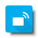 White Transmitter icon on blue web button