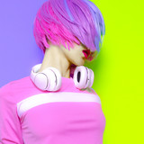 Vanilla DJ Lady. Minimal pop art style. Fashion colors. Sweet party - 132489400