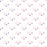 Cute whales geometric seamless pattern. Simple and gentle. Pastel pink and blue colors. Striped background.