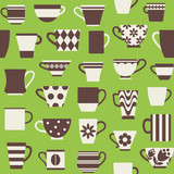 Coffee cups and mugs in various shapes seamless pattern background 2 - 132490227