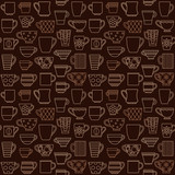 Coffee cups and mugs outline icons seamless pattern background 2 - 132490261