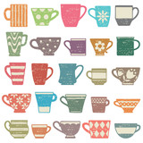 Colorful vintage scratched coffee cups and mugs icons
