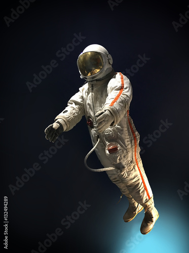 Astronaut in outer space, on a background of blue, infinite spac