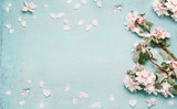 Springtime background with beautiful spring blossom in pastel color, top view, frame - 132496272