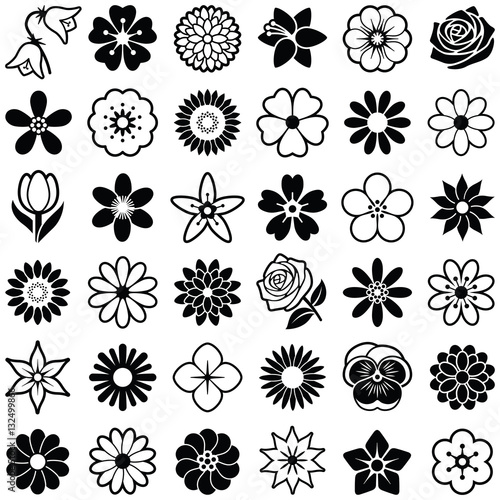 Flower icon collection - vector illustration  - 132499866