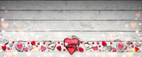 Valentines Day Ornament On Vintage Wooden Plank