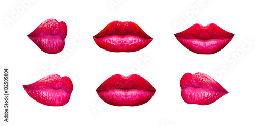 Set of pink and red lips and kiss isolated on a white background Poster
